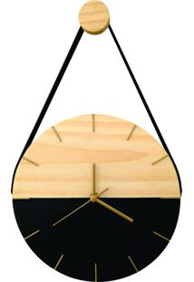 Relógio De Parede Minimalista Preto E Dourado Com Alça + Pendurador