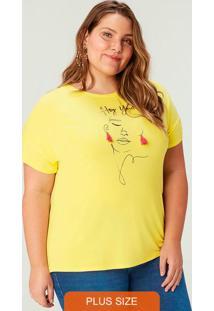 Blusa Amarela Em Viscose Com Pingente