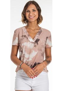 Blusa Estampada Com Decote V Marrom