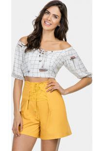 Blusa Cropped Ombro A Ombro Tecido Blanc - Lez A Lez