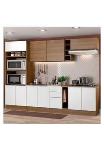 Cozinha Completa Madesa Stella 290001 Com Armário E Balcão Rustic/Branco Rustic/Branco/Rustic