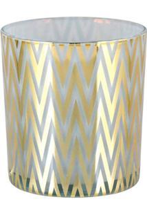 Castiçal Home&Co Tealight 9X5,5Cm Branco E Dourado