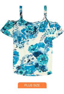 Blusa Azul Ciganinha Floral