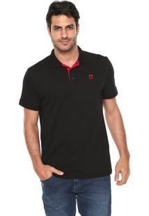 Camisa Polo Mr Kitsch Reta Logo Preta