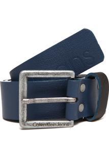 Cinto Couro Calvin Klein Jeans Color Azul-Marinho