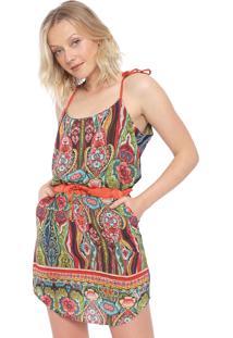 Vestido Desigual Estampado Multicolorida