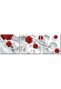 Quadro 50X150Cm Flores Rosas Vermelha Abstrato Decorativo