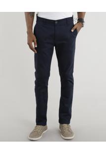 Calça Chino Slim Em Algodão + Sustentável Azul Marinho