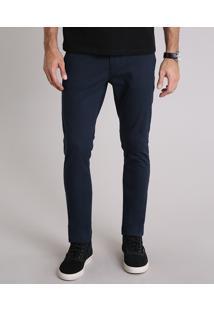 Calça Masculina Chino Slim Em Algodão + Sustentável Azul Marinho