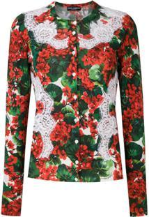 Dolce & Gabbana Cardigan De Tricô Estampa Floral - Estampado
