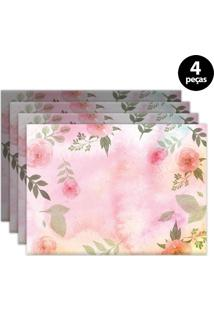 Jogo Americano Mdecore Floral 40X28Cm Rosa 4Pçs