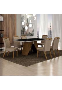 Conjunto De Mesa De Jantar Ii Com 6 Cadeiras Verona Veludo Preto E Camurça