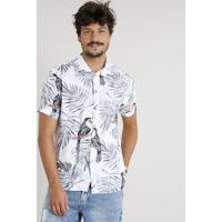 73034709bb Camisa Masculina Estampada De Tucanos Manga Curta Branca