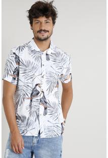 Camisa Masculina Estampada De Tucanos Manga Curta Branca