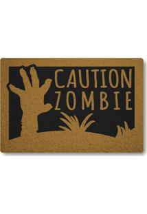 Tapete Capacho Caution Zombie - Preto