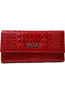 Carteira De Couro Recuo Fashion Bag Croco Vermelho