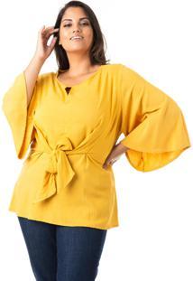 Blusa De Linho Com Nó Plus Size - Confidencial Extra - Tricae