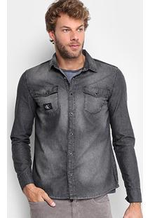 Camisa Jeans Calvin Klein Estonada Stone Indigo Masculina - Masculino