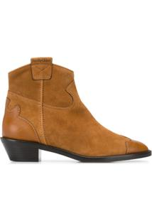 See By Chloé Western Style Suede Leather Ankle Boots - Marrom