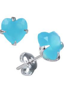 Brinco Joia Em Casa Zircônia Azul Turquesa Coração 6Mm Prata