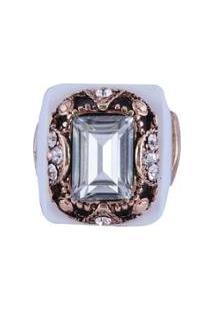 Anel Armazem Rr Bijoux Cristal Quadrado - Feminino-Dourado