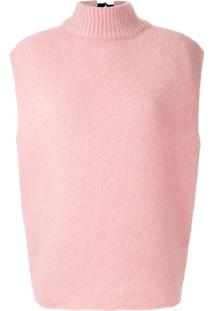 Emporio Armani Blusa De Tricô Com Lã Gola Alta - Rosa