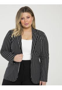 Blazer Listrado Curve & Plus Size