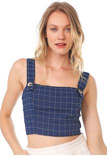 Top Dress To Xadrez Grid Azul/Branco