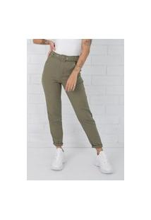 Calça Pkd De Tecido Com Cinto Verde Militar