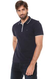 Camisa Polo Aramis Regular Fit Zíper Azul