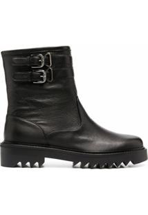 Aquazzura Ankle Boot De Couro Com Fivela - Preto