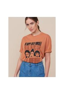 Amaro Feminino T-Shirt Ampla Be Confident, Laranja