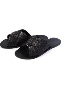 Sandália Casual Rasteira Touro Boots Feminina Preta - Kanui