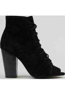 Bota Ankle Boot Feminina Com Amarração Salto Alto Preta