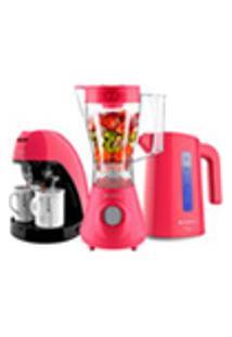 Kit Cadence Colors Rosa Doce - Liquidificador - Cafeteira - Chaleira -220V