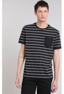 Camiseta Masculina Botonê Listrada Manga Curta Gola Careca Preta