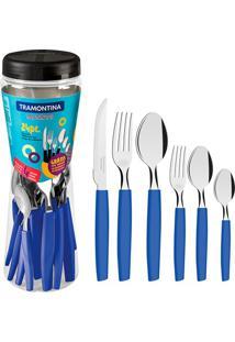 Faqueiro Em Aço Inox Munique Azul Com 24 Peças