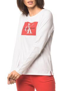 Blusa Ckj Fem Ml Logo - Branco 2 - M