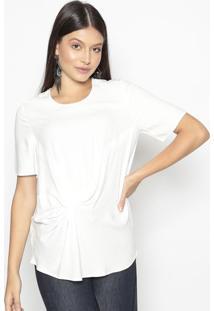 Blusa Com Recortes- Off White- Colccicolcci