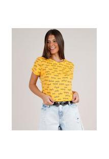 Blusa Feminina Estampada De Palavras Manga Curta Decote Redondo Amarela
