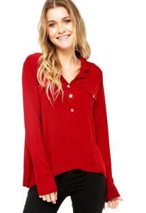 Camisa Manga Longa Fiveblu Bolso Vermelha