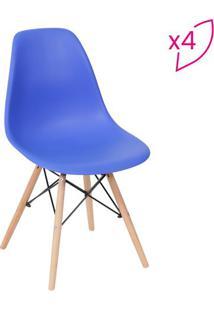 Jogo De Cadeiras Eames Dkr- Azul Escuro & Madeira- 4Or Design