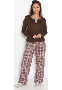 Pijama Manga Longa & Calã§A- Marrom & Vermelhosonhart
