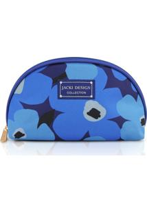 Necessaire Meia Lua Tecido Floral Jacki Design Papoula Azul