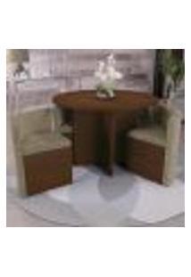 Sala De Jantar Nira Com 4 Cadeiras Kappesberg - Caramelo