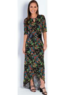 Vestido Mullet Floral Preto Moda Evangélica