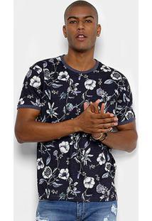 Camiseta Triton Floral Masculina - Masculino-Marinho