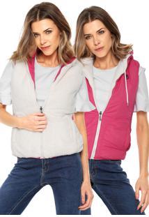 Colete Polo Wear Dupla Face Com Pelo Rosa