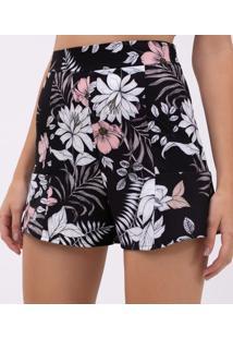 Short Cintura Alta Floral