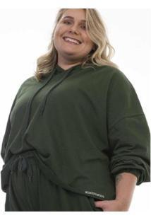 Casaco Plus Size Rosa Dourada Moletom Leve - Feminino-Verde Militar